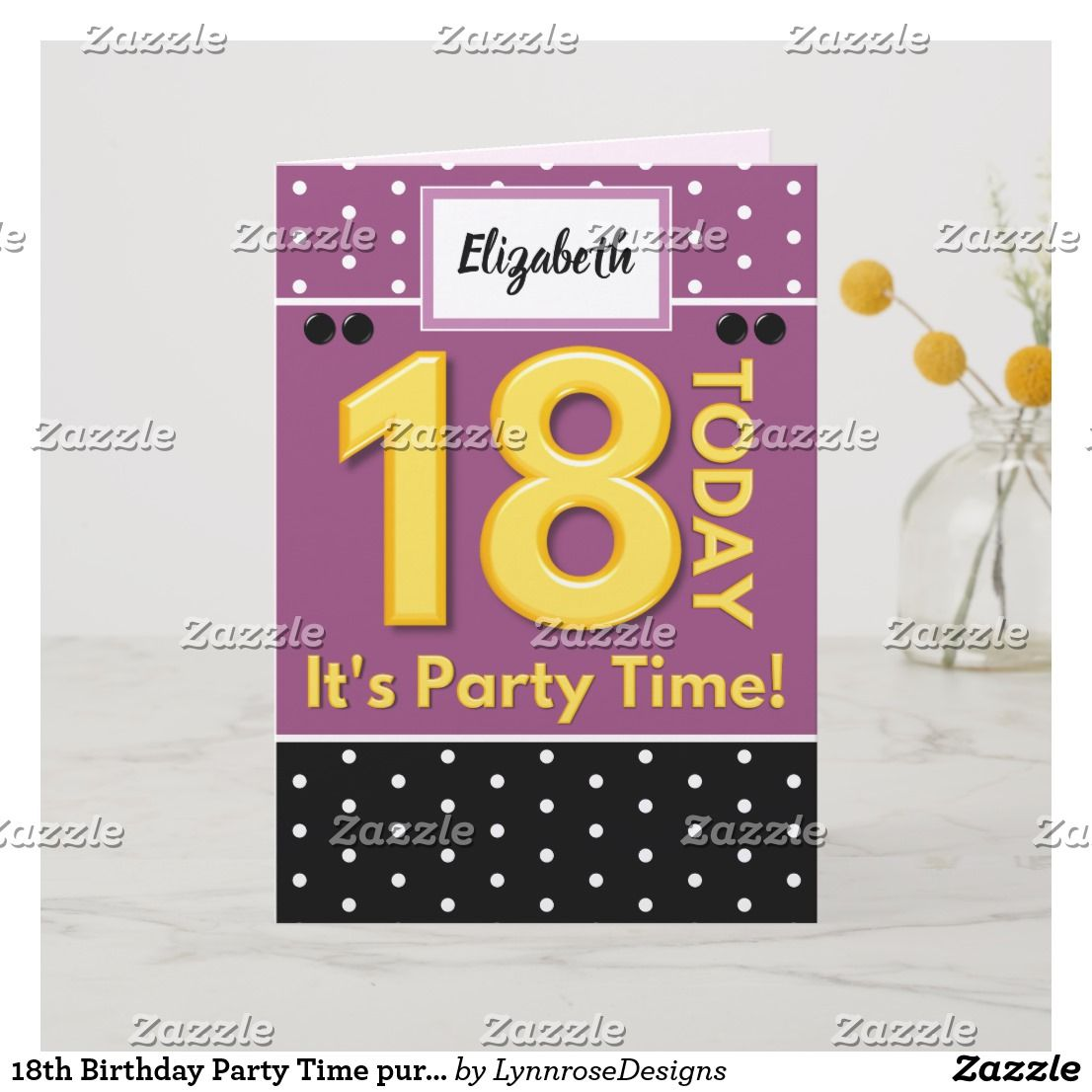 18th Birthday Party Time Purple And Black Card