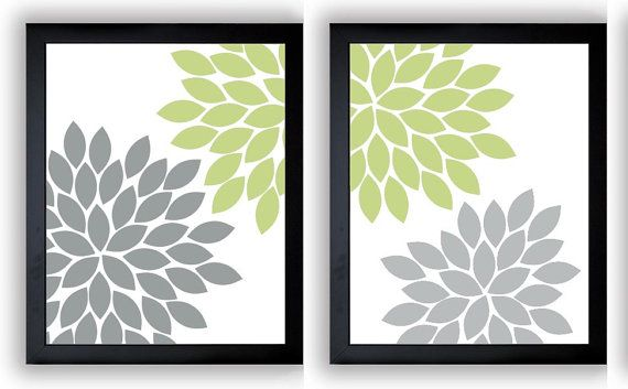 INSTANT DOWNLOAD Sage Green Brown Chrysanthemum Flowers Set of 2 Art ...