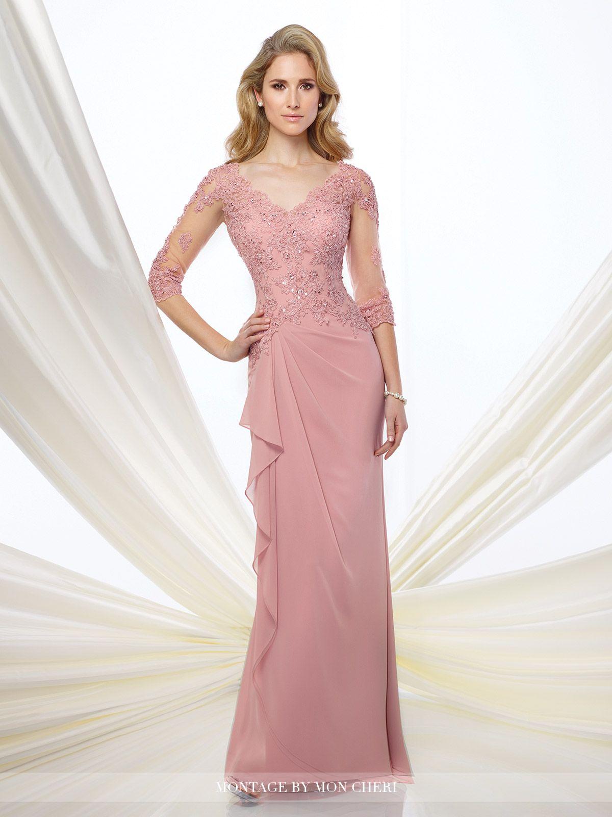 Illusion and Lace 3/4 Sleeve Dress Montage | Vestido de bodas ...