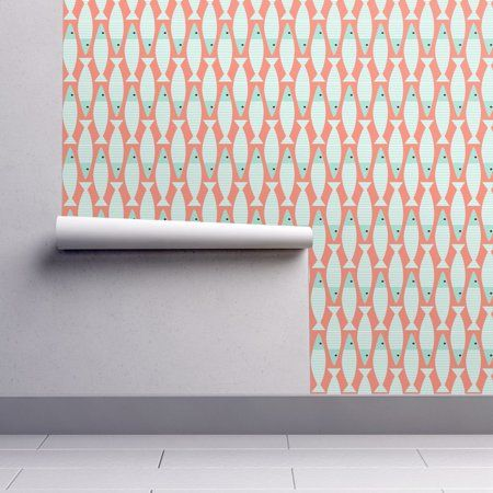 PeelandStick Removable Wallpaper Coral Coral Cotton Fish