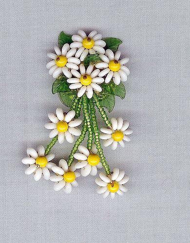 Coro Beaded Dripping Daisy Beaded Flower Pin | by Lee Caplan Vintage Collection