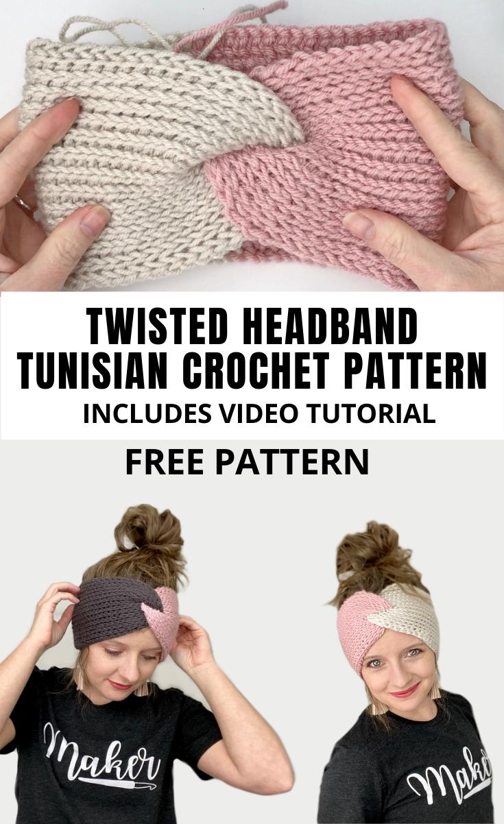 How To Make A Tunisian Crochet Twisted Headband- Free -