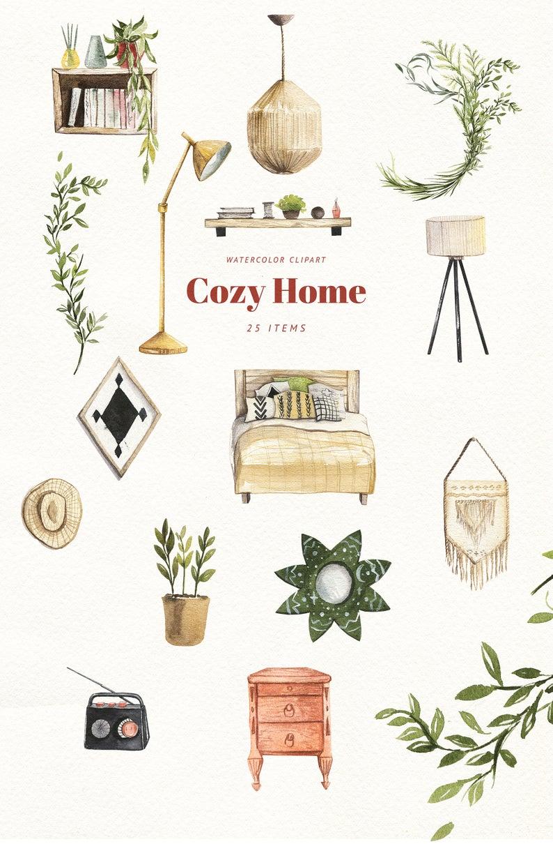 Watercolor boho home clipart cozy home decor clip art modern Interior bohemian design png