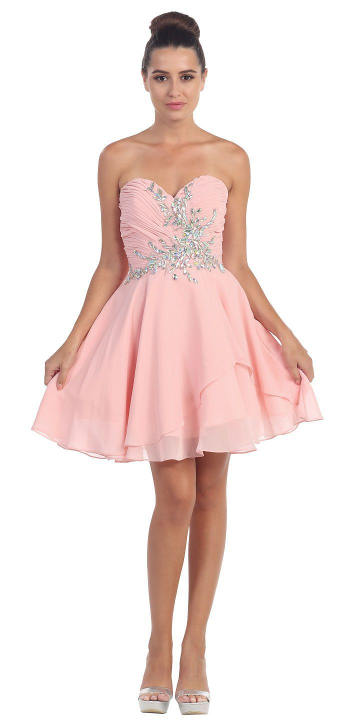 STRAPLESS SHIRRED BEADED BUST SHORT FORMAL PROM DRESS   Products ...