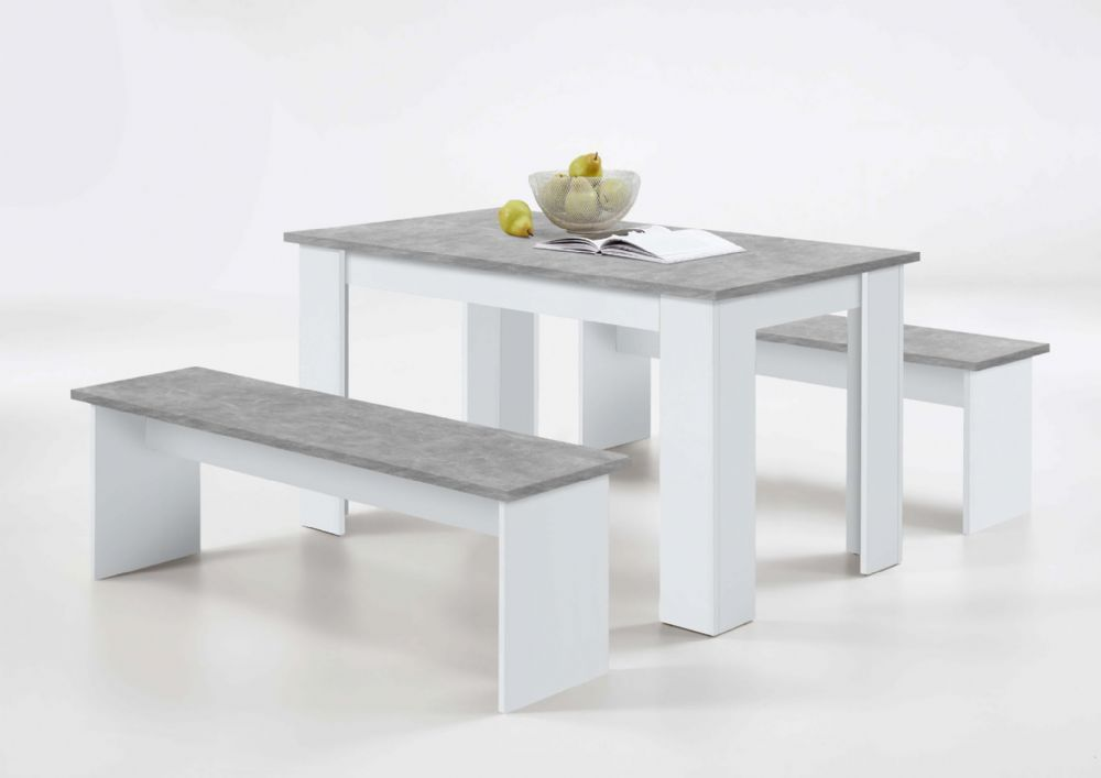 Durban White And Grey Dining Table With Bench Seats Sale At