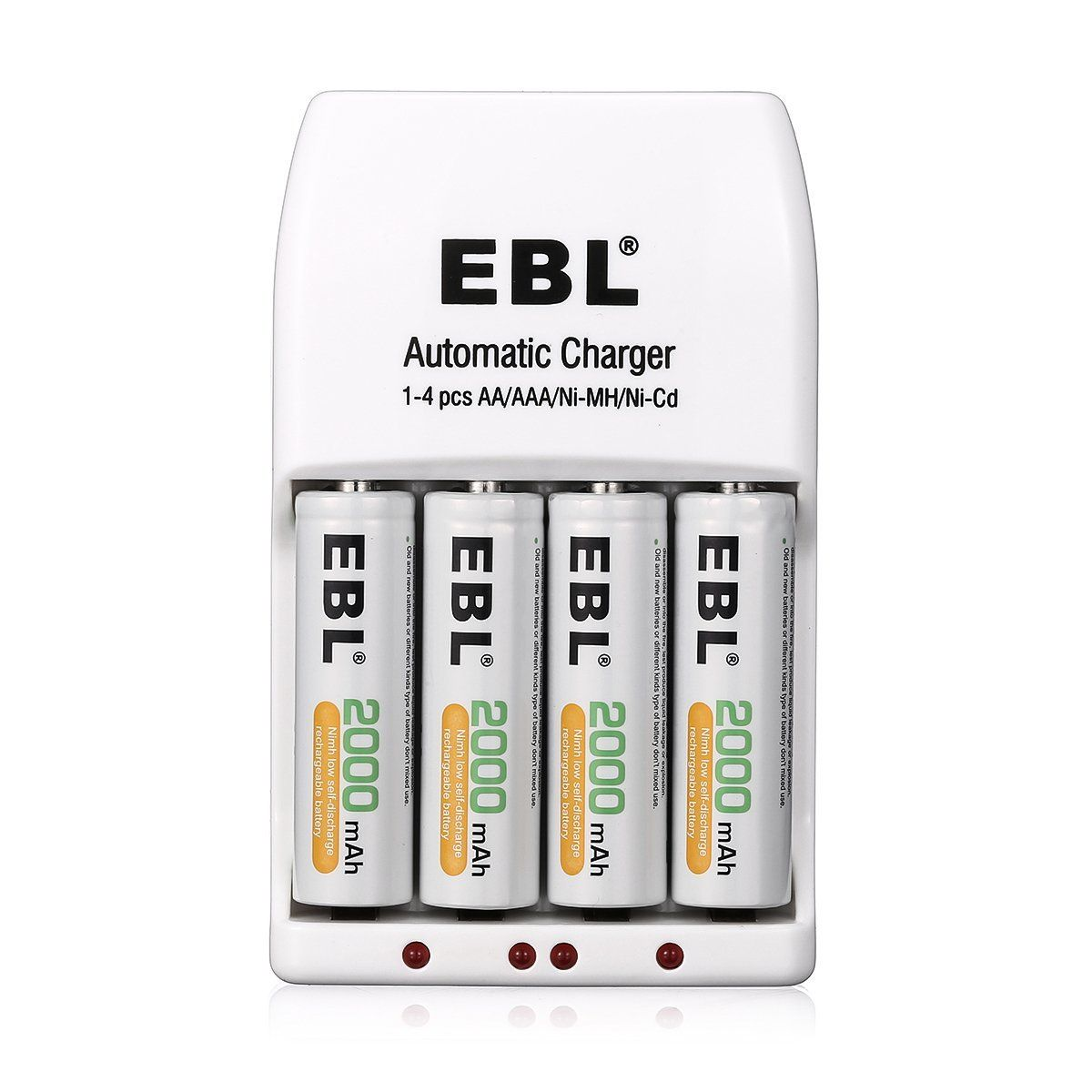 Ebl 4 Pack Aa 2000mah Ni Mh Rechargeable Batteries With 4 Bay Smart Aa Aaa Battery Char Aaa Battery Charger Rechargeable Batteries Rechargeable Battery Charger