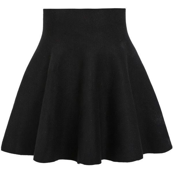 Black High Waist Ruffle Skirt Length(cm): 42cmWaist Size(cm): 60 ...