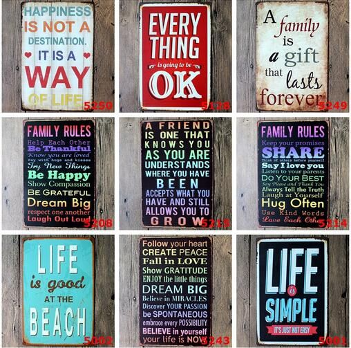 5pcs/lot Wall Art Vintage Tin Signs Home Decor Painting Romance Retro House  Cafe Bar