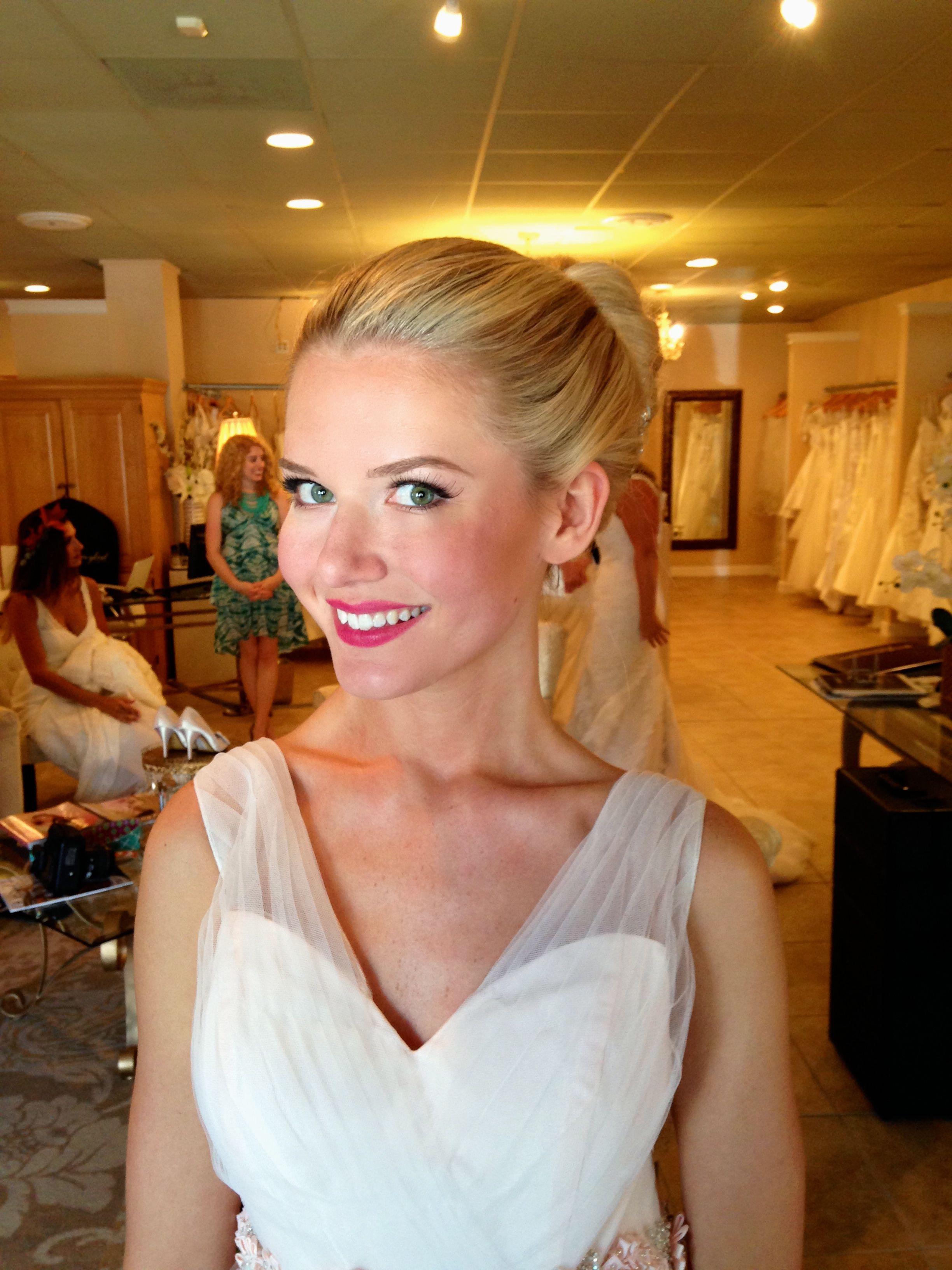 glowing, dewy, chic, ballet bun inspired pink lip bridal