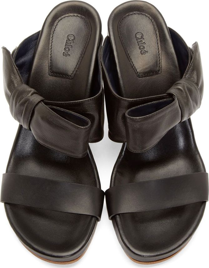 Chloé Black Leather Bow Sandals