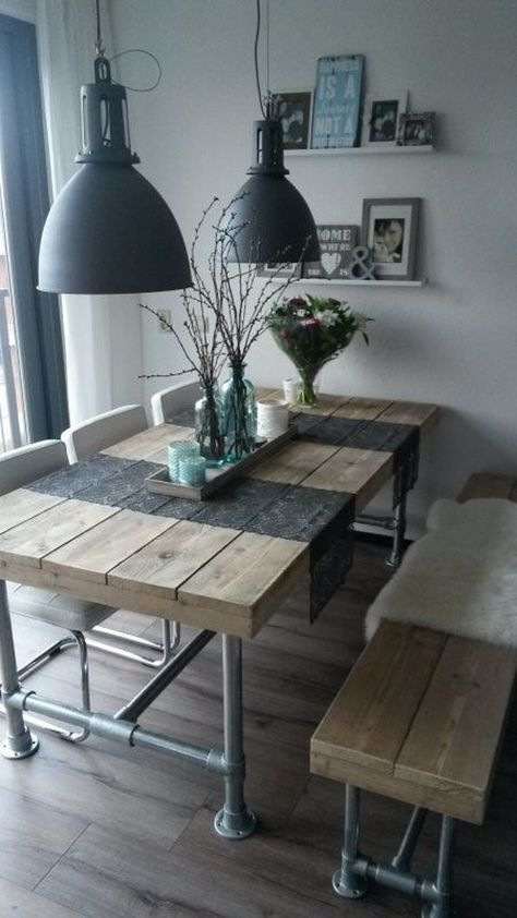 Comedores informales con bancos Corner nook, Rustic table and Cabin