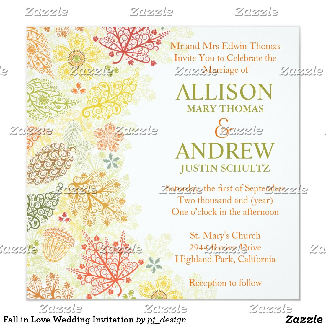 Fall in Love Wedding Invitation   FALL WEDDING Invitations ...