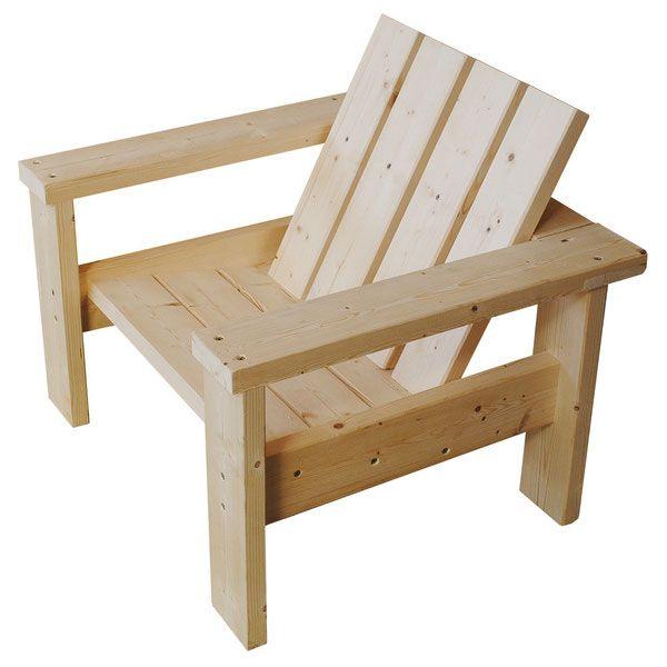 Fauteuil Sapin pour salon de jardin bois - Fauteuil bois ...