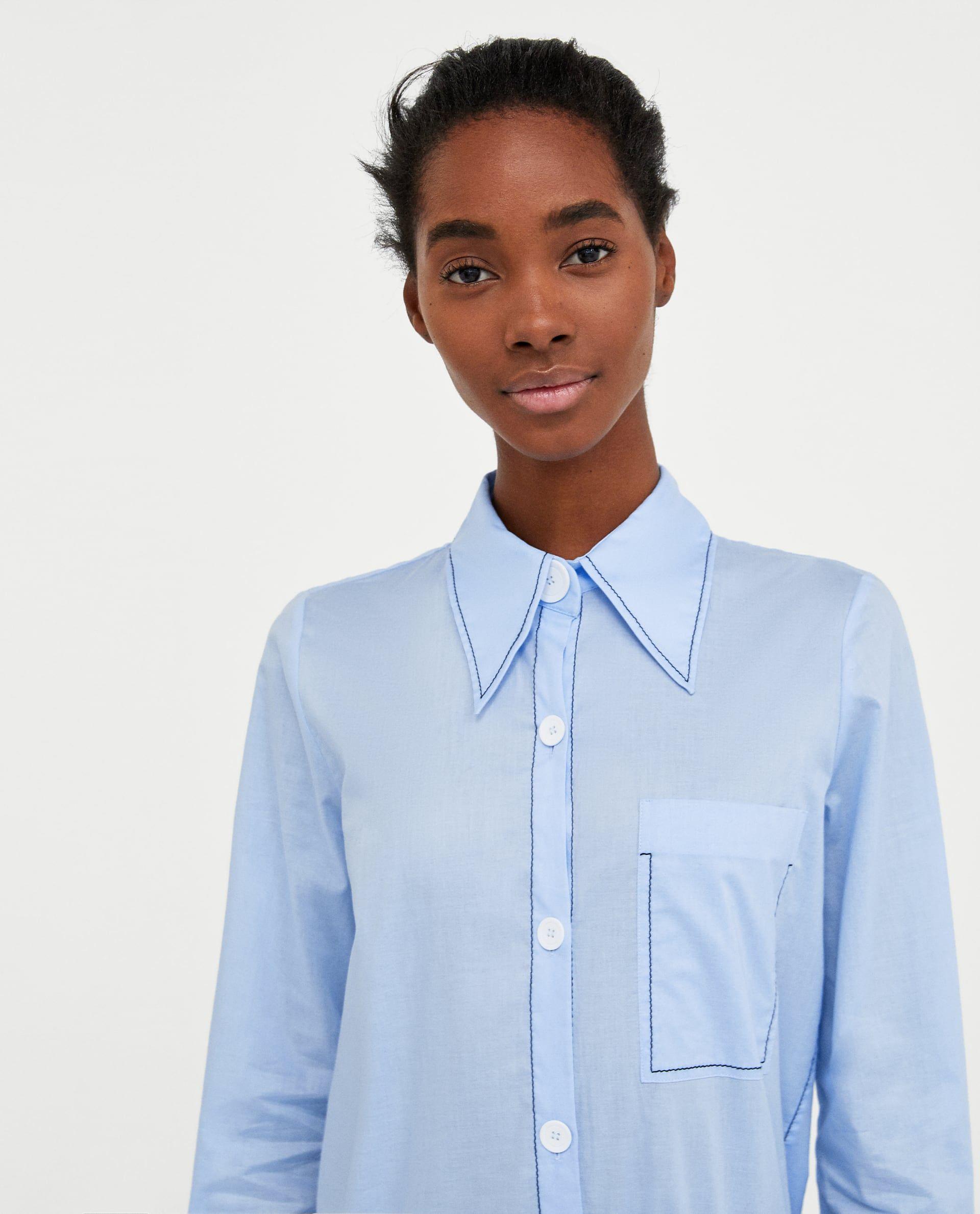 95a1de8c0b CONTRASTING TOPSTITCHING SHIRT from Zara | My Style // SS18 Fashion ...