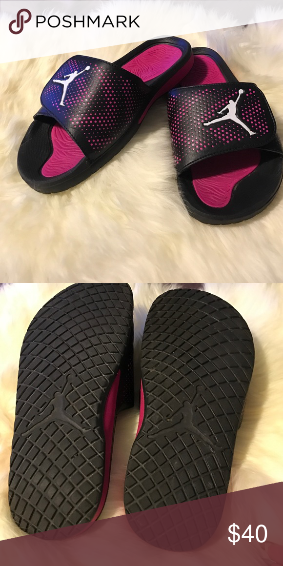 7530ff6150eb Jordan sandals Black and pink jump man sandals Jordan Shoes Sandals Womens  Jordans