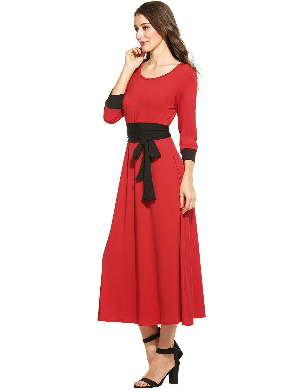 Meaneor womenus vintage casual sleeve waist belt pocket shift