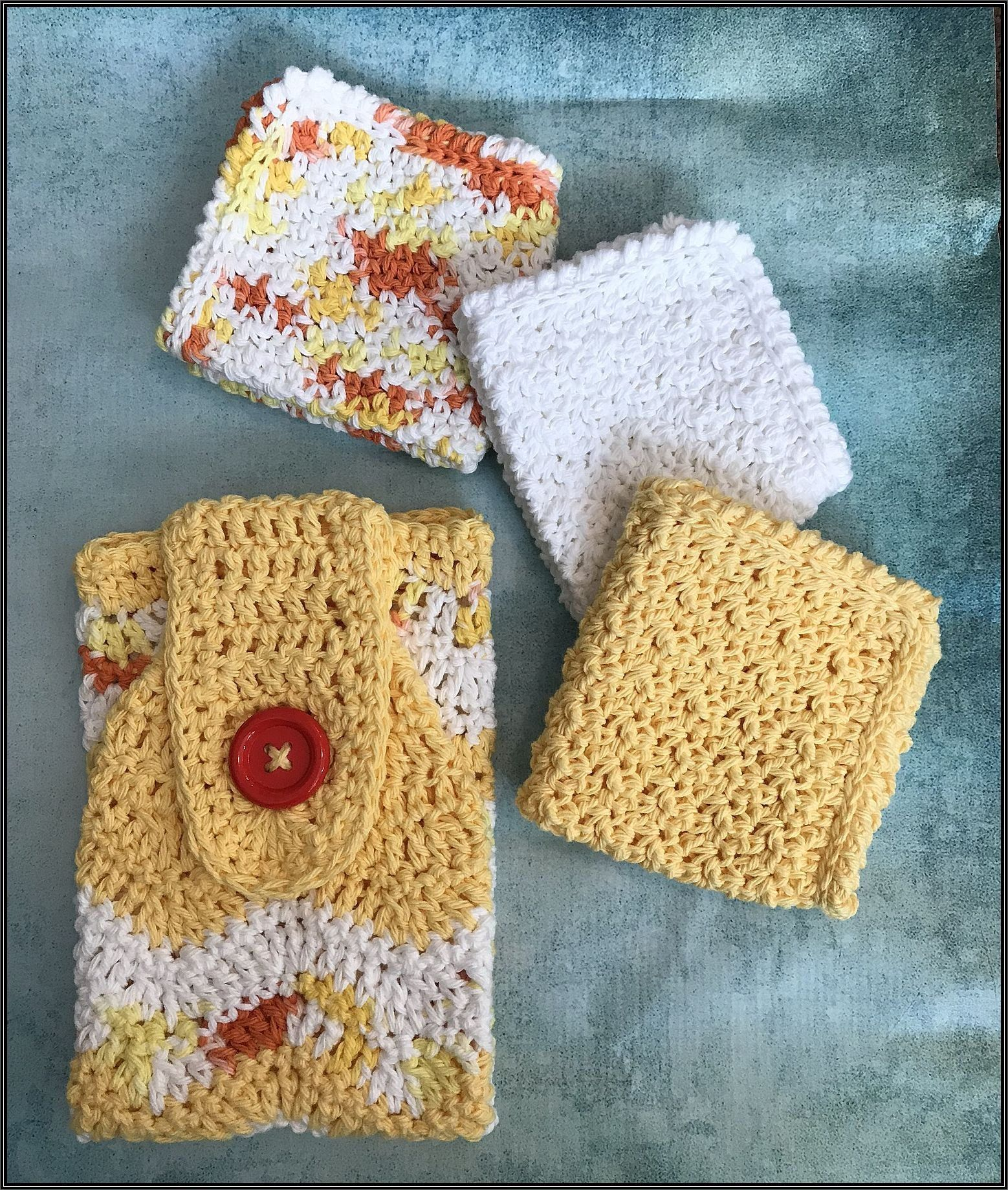 Crocheted Chevron Hanging Towel And 3 8 10 Dish Cloth Wash