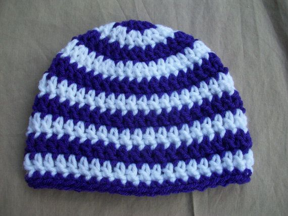 Baby  Crochet  Hat in Purple and White by AngieHallHaviland, $9.00