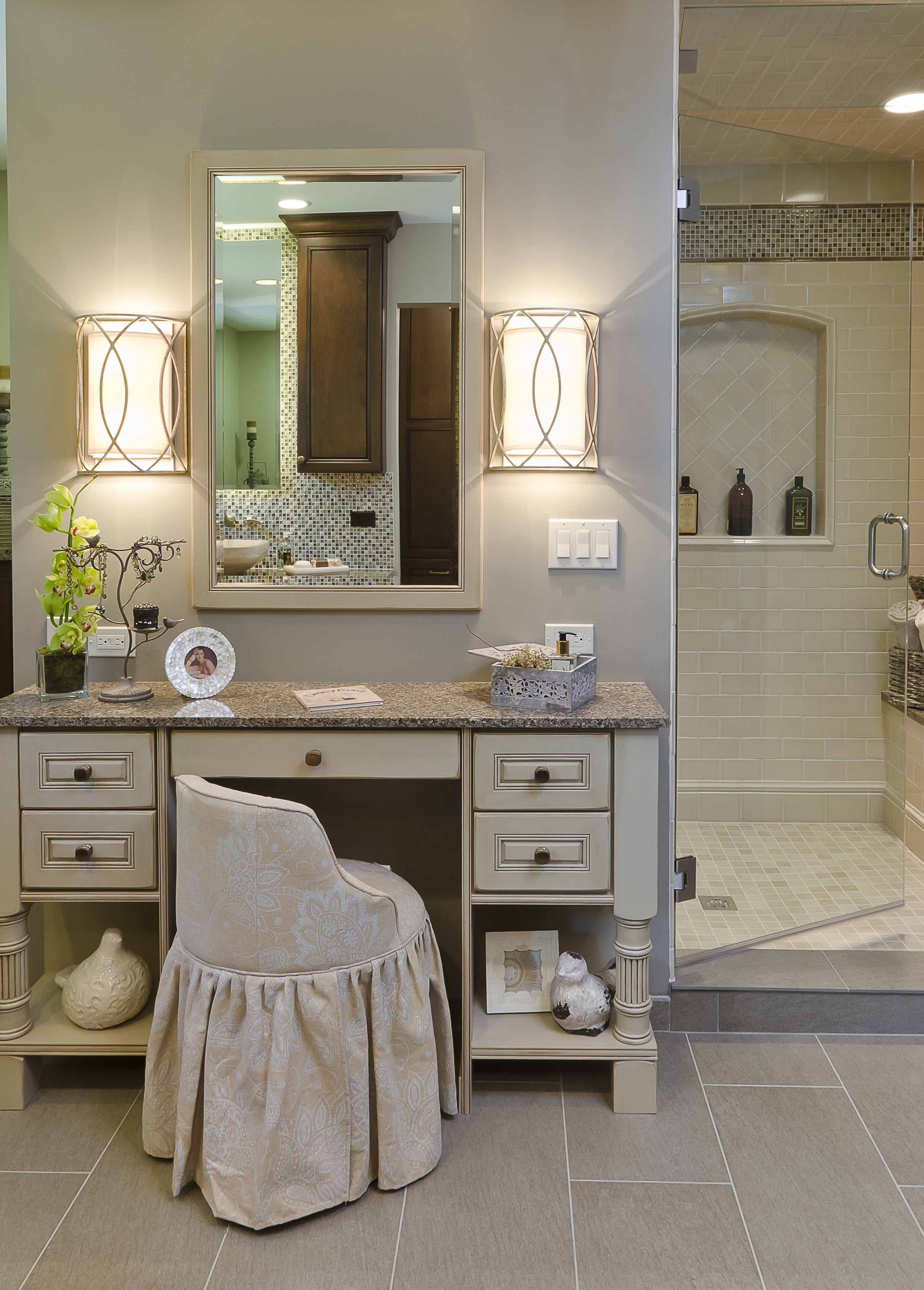 The Custom Make Up Cabinet Is Made By Dura Supreme Cabinetry Bathroom With Makeup Vanity Vanity Design Bedroom Vanity