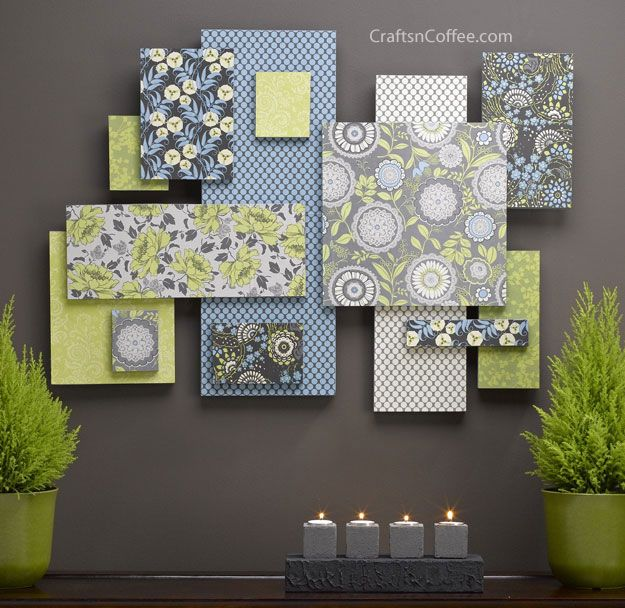 Paper Wall Art diy-scrapbook-paper-wall-ar | canvases, shoe box lids and box lids