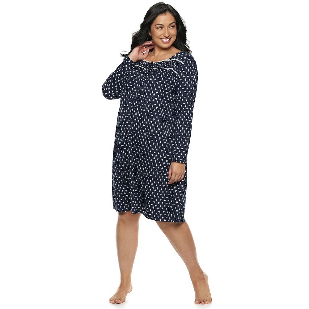b61973654f56 Plus Size Croft & Barrow® Sleep henley Nightgown, Women's, Size: 3XL, Dark  Blue