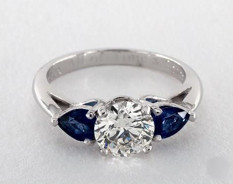 1.2ct Three Stone Round Engagement Ring White Gold & Gemstone Accents