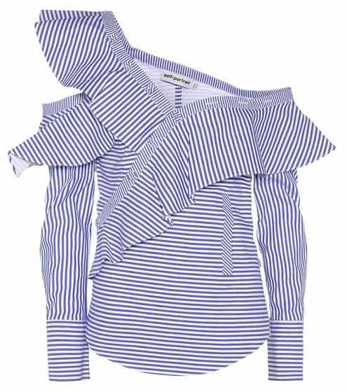 cd6b5f07746326 off the shoulder ruffle blouse. Striped Frill cotton shirt | Self-Portrait