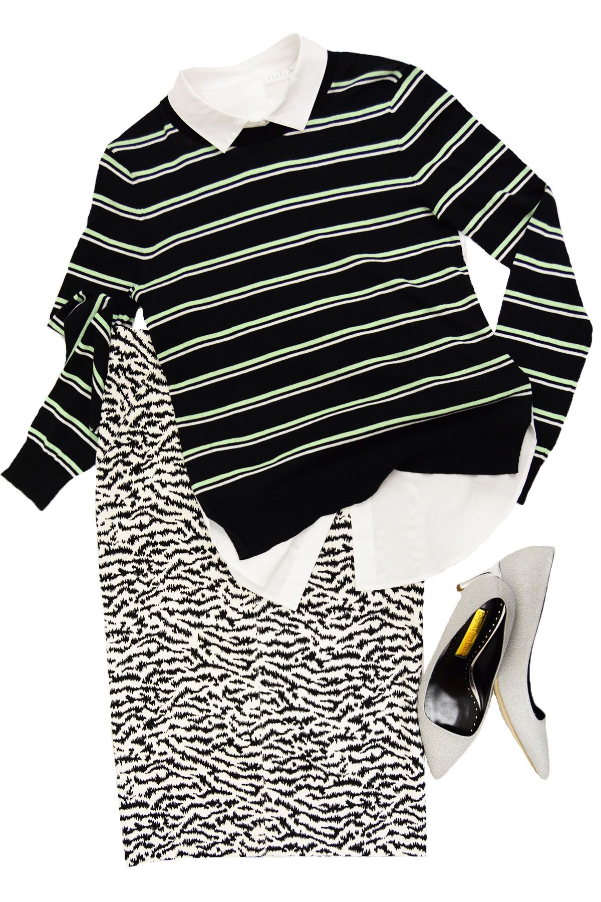 Veronica Beard Mint Striped Combo Sweater, Veronica Beard Tiger Skirt, Rupert Sanderson Lydia Pebble Shoe