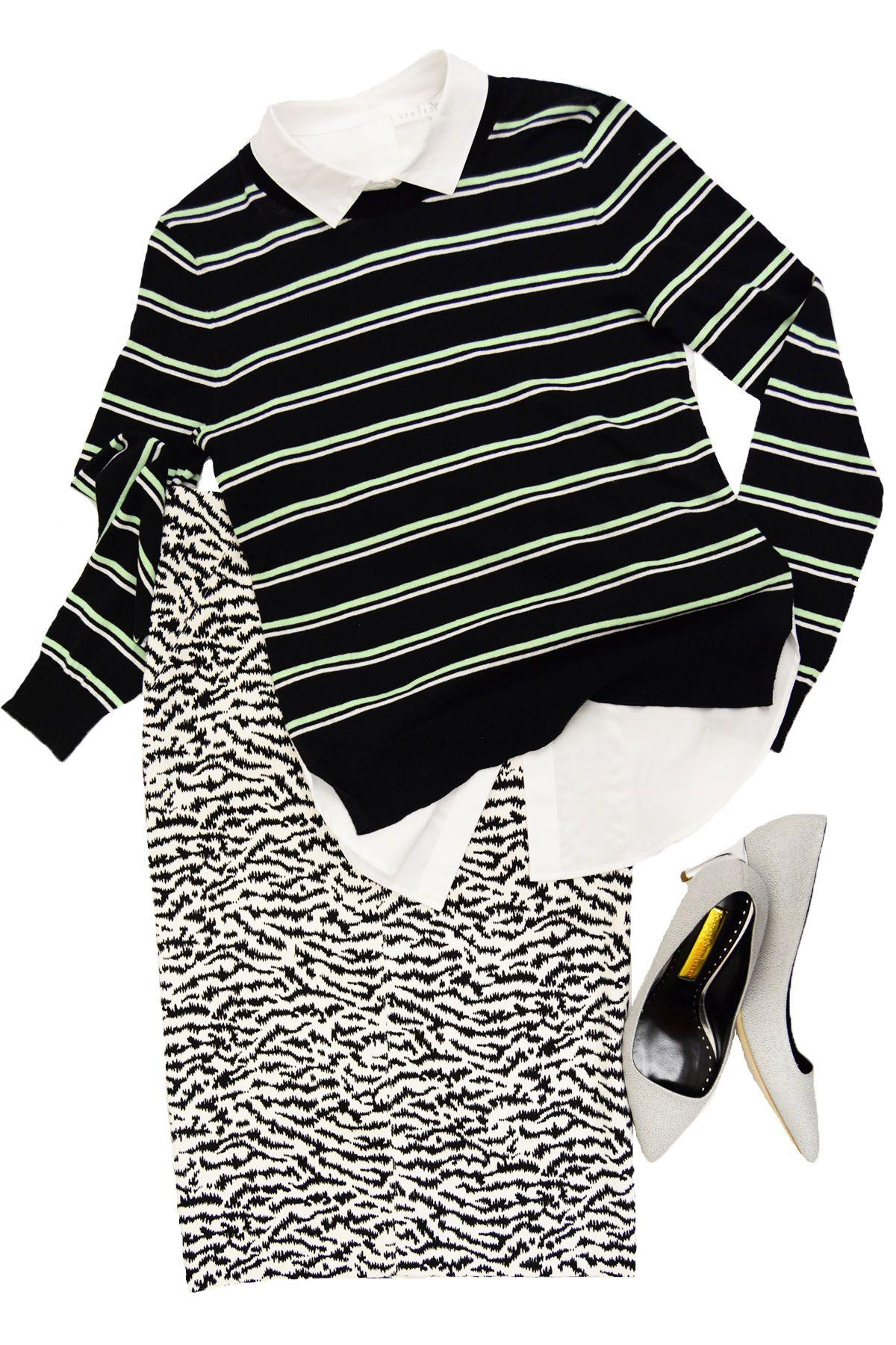 Veronica Beard Mint Striped Combo Sweater, Veronica Beard Tiger Skirt, Rupert Sanderson Lydia Pebble Shoe