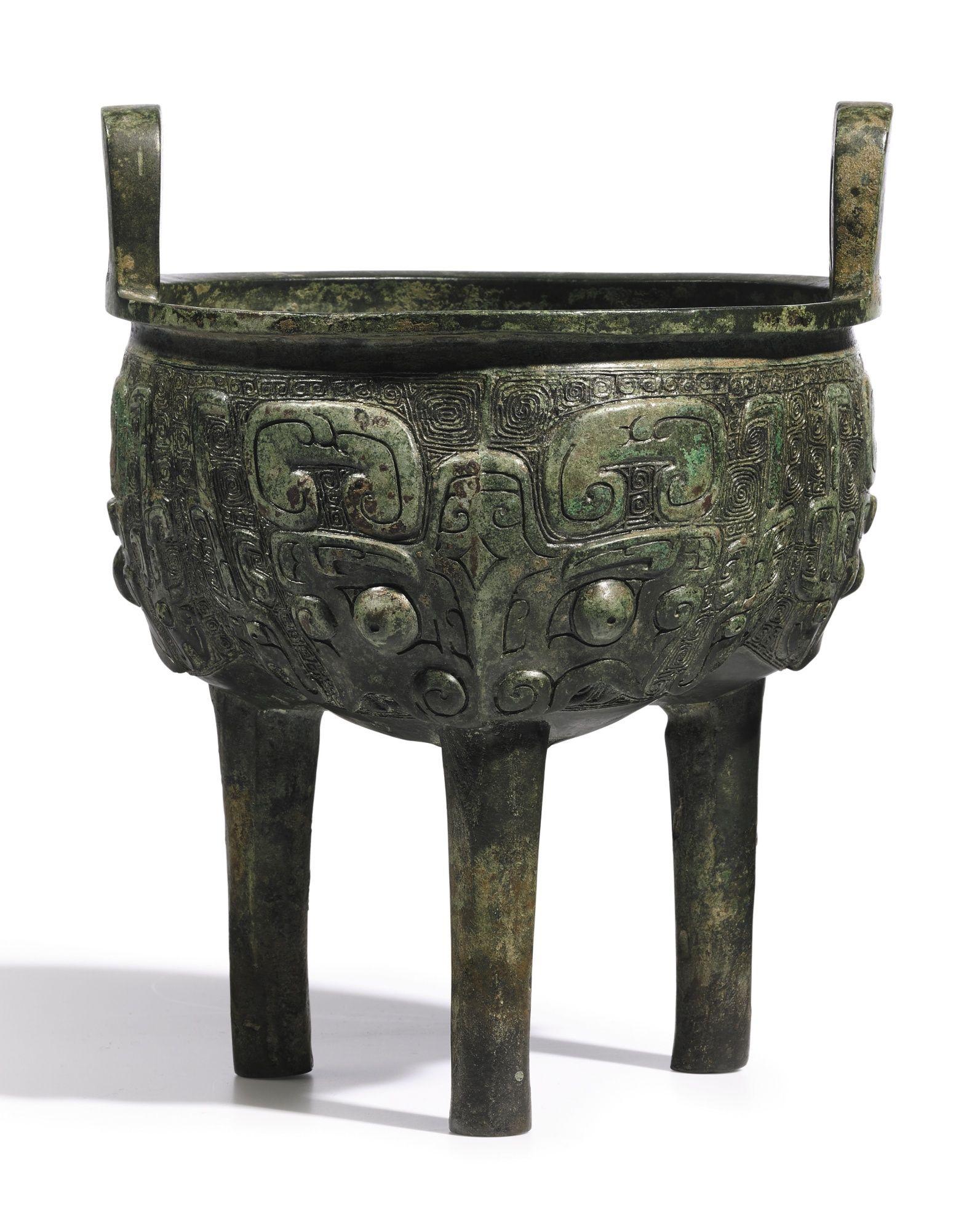 An archaic bronze ritual food vessel liding late shang early an archaic bronze ritual food vessel liding late shang early western zhou dynasty buycottarizona Choice Image