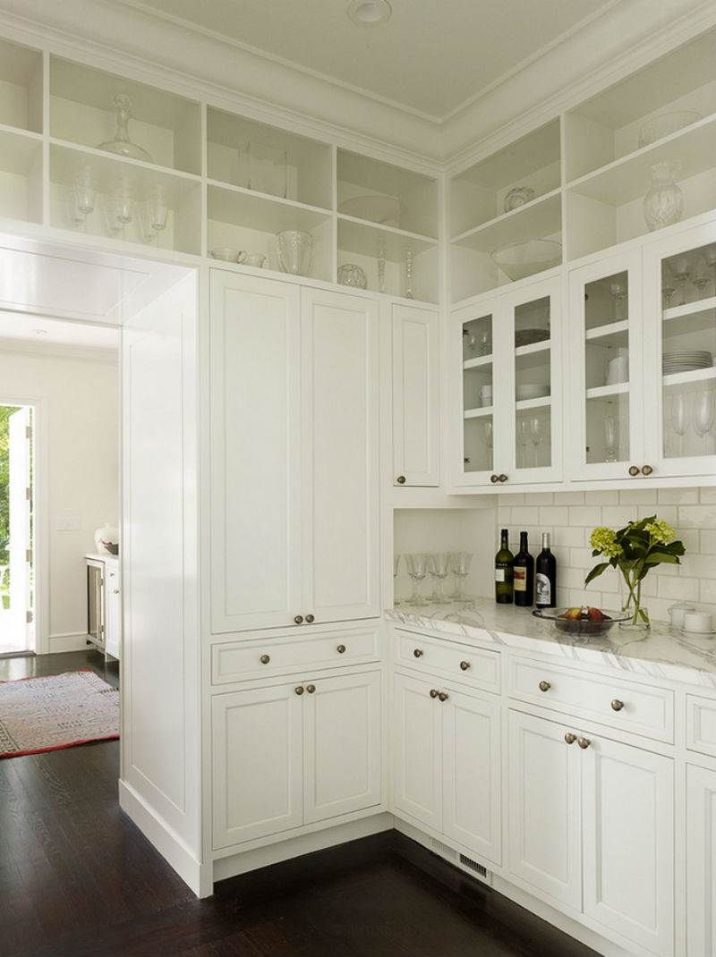 Picture Of Tall White Upper Kitchen Cabinet With Glass Door