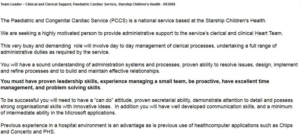 Implants Administrator, Operating Theatres, Auckland District - clerical experience