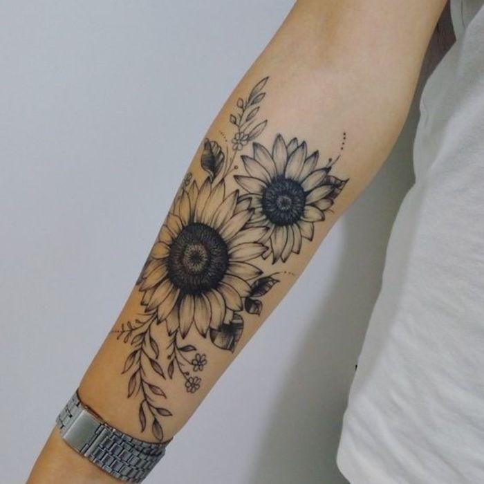 35 Tatuagens Fantásticas de Flor de Girassol e o seu significado - 123 Tatuagens