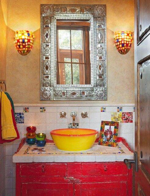 Colorful mexican inspired bathroom with tin mirror i don for Colorful bathroom mirrors