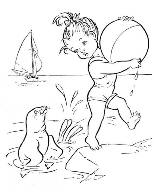 Printable beach coloring page Free PDF download at http