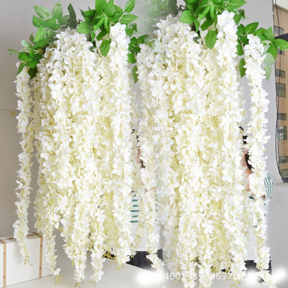 40 Long Artificail Silk White Wisteria Flower Vine Wedding Home Plant