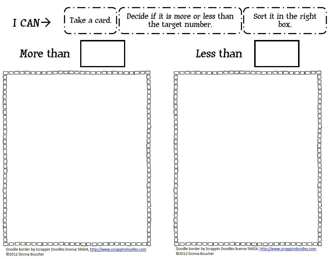 Greater Than And Less Than Worksheets For Kindergarten Class Room