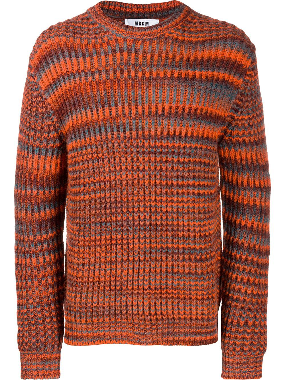 MSGM striped knit jumper - ORANGE