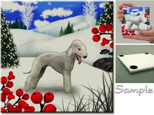 BEDLINGTON TERRIER DOG winter berries art ceramic by evadesigns, $14.00