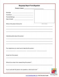 Biography Report Form Template and Organizer | Free printable