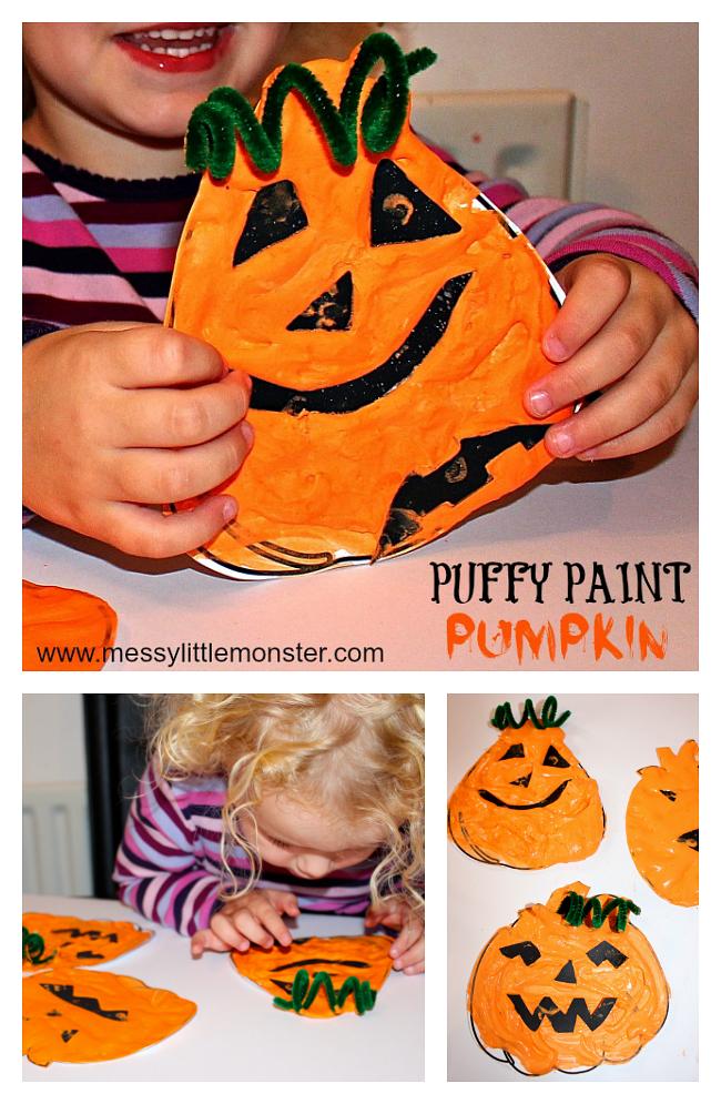 Pumpkin Craft using a homemade puffy paint recipe #pumpkincraftspreschool Pumpki…