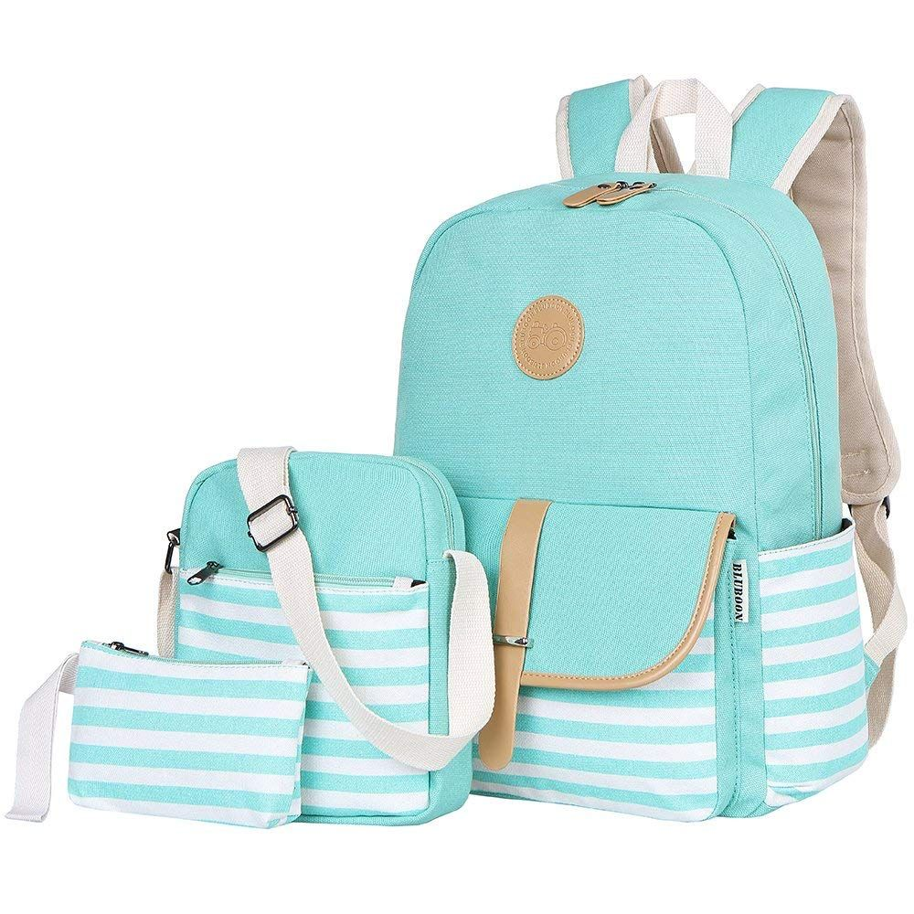 Bluboon teens canvas backpack girls school bags set