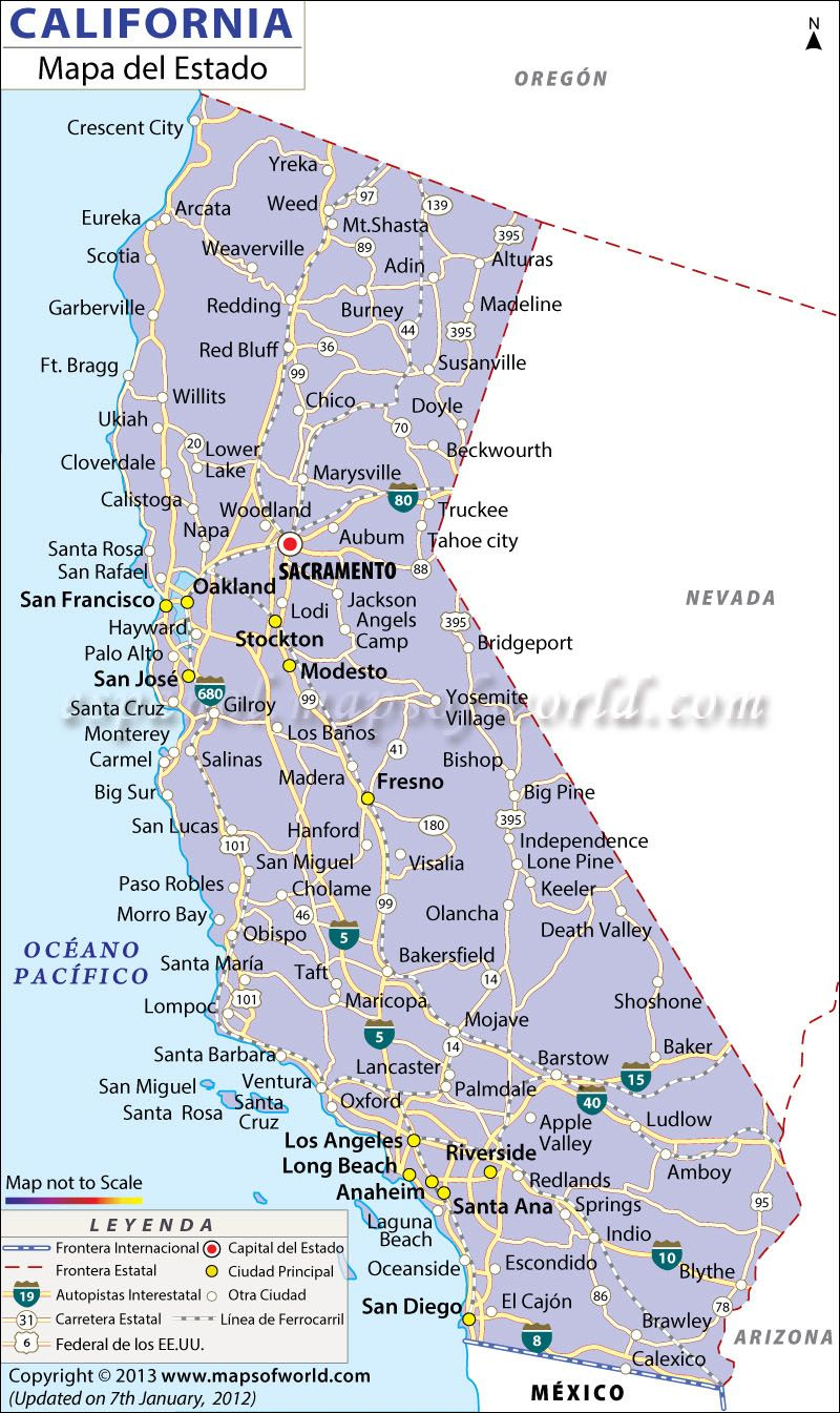 Brawley California Map.Mapa De California In 2019 California Pinterest California Map