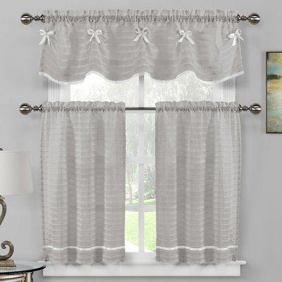 August Grove Isla 3 Piece Kitchen Curtain Set Color Kitchen Curtain Sets Kitchen Curtains Curtains
