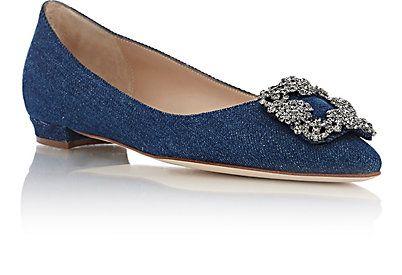 Manolo Blahnik Crystal Embellished Hangisi Flats Ballet