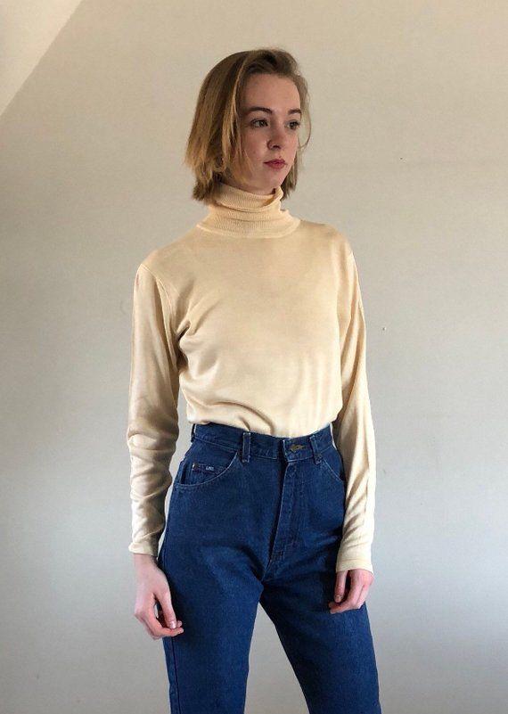 4c0136f9895f 90s turtleneck / silk sweater / buttercream vintage turtleneck sweater | s m