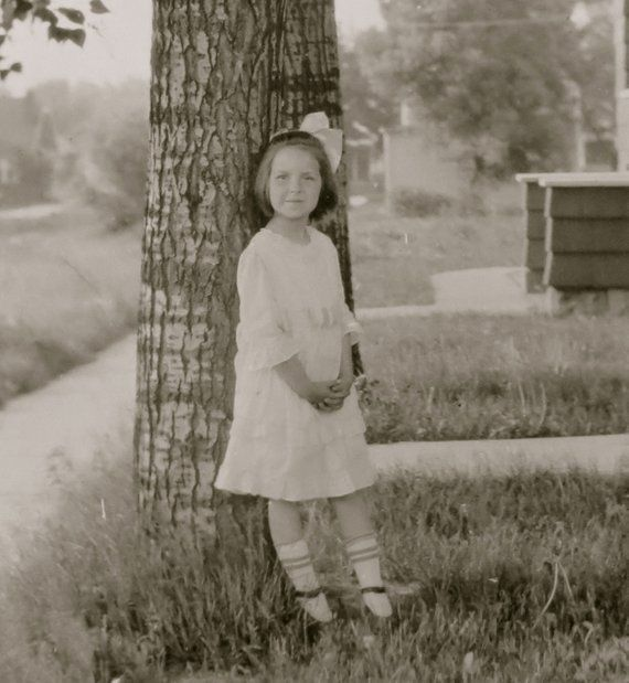 The Sweetest Little Girl With A Ribbon In Her Hair 1920s Snapshot