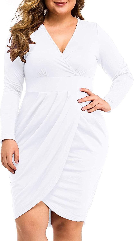 Hot Plus Size Dresses 22 99 Laolasi Womens Plus Size Long Sleeve Deep V Neck Bodycon Wrap Dress With Fr Seductive Dress Plus Size Dresses Short Dresses Tight [ 1500 x 836 Pixel ]