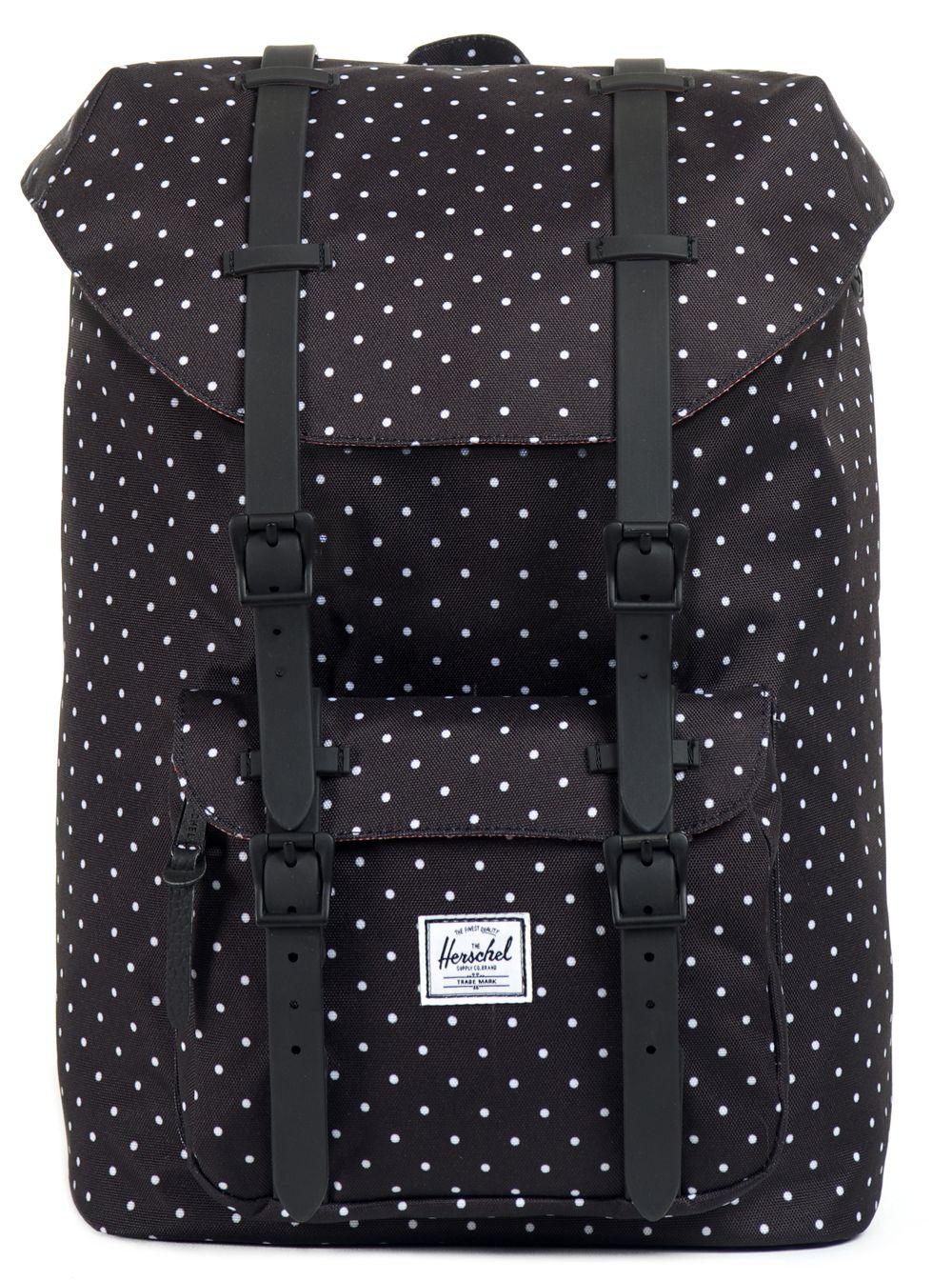 5702cdbbcb4 herschel supply co black polka dot little america backpack   I like ...