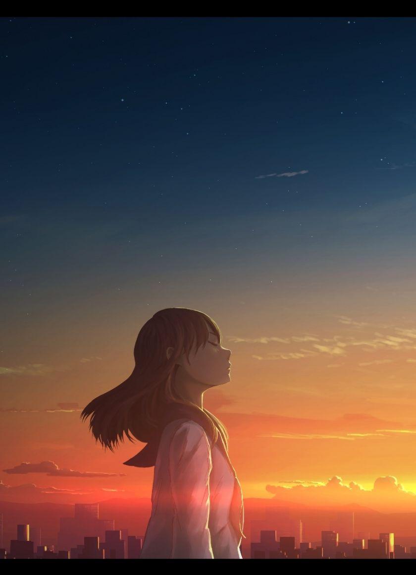 Girl, relaxed, outdoor, anime, 840x1160 wallpaper